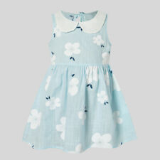 NEW Size 3-4 Years Girls Dress 100% Cotton Light Blue Floral Girls Dress
