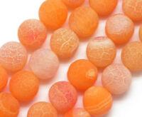 Edelsteine Achat Perlen 10mm Matt Naturstein Orange Rund Schmuck Basteln R315