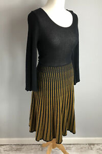 FRENCH CONNECTION Size 8 Black Knit Dress A Line Sleeves Winter Spring Ladies