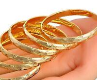 2 Pc Lot/Set 18k Yellow Gold Women's Elegant Starburst Cut Bracelet Bangle D226L