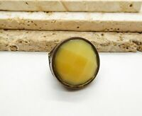 Cream Honey Yellow Shimmer Glass Copper Tone Boho Statement Stretch Ring PP20