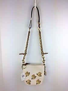 COACH F32938 1941 Rose Applique Duffle 12 Shoulder Bag Women's Leather Chalk NWT