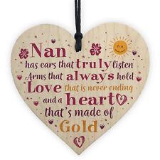 Nan Gift From Grandchildren For Christmas Birthday Wood Heart Grandparent Plaque