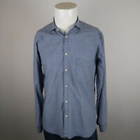 Billy Reid Button Up Shirt Mens Size Medium Blue Check Long Sleeve Standard Cut