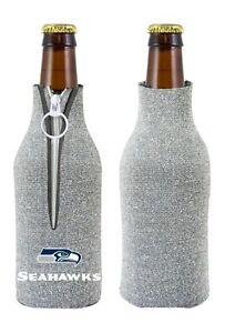Seattle Seahawks NFL Glitter Zip Up Bottle Coozie Koozie Insulator Holder