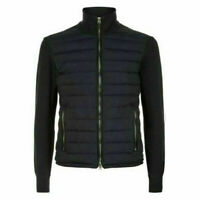 Black Specter Knitted Sleeve Bomber Zipper Jacket in bubble style Cotton Lining