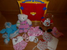 Build A Bear Lot Red Yellow Armoire Wardrobe Two Bears and Outfits