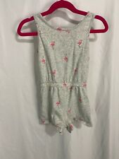 Old Navy Girls Xs (5) Gray W/ Pink Flamingoes Shorts Romper