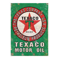 Texaco Motor Oil Advertising Sign Retro Vintage Garage Shed Workshop Metal