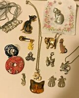 VTG CAT JEWELRY LOT Charms Necklace Earrings Gold STERLING SILVER CLOISONNE Pins