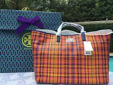 TORY BURCH JANE WOVEN LEATHER TOTE RAINBOW MULTI /LAPIS NWT $550 +GIFT BAG