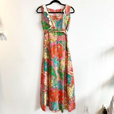 Vintage 70s Patchwork Print Bright Groovy Maxi Dress Pinafore Ruffle Estimate XS