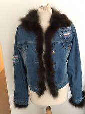 Funky Recylced Denim Cotton Jacket Flag Detail & Genuine Fur Trim