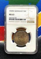 NGC MS 63 1939 E  5 Mark WW2 German Silver Coin Third Reich Swastika Reichsmark