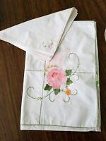 "Vintage Banquet Floral Applique & Embroidered White Linen Tablecloth 54"" X 72"""