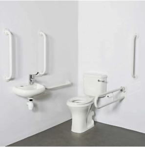 Premier Doc M Pack - Disabled Bathroom Toilet, Basin and Grab Rails - White