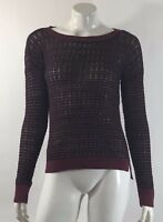 Ann Taylor LOFT Womens Sweater Size Small Burgundy Black Open Knit Pullover Top