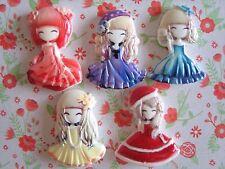 5 x Sweet Little Doll Girl Flatback Resin Embellishment Crafts Bow Cabochon UK