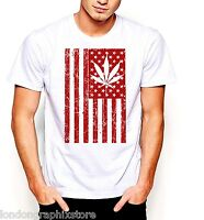 Marijuana T-Shirt, Weed , Cannabis, 420, blunt, bong, drugs men swag US flag