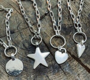 """STERLING SILVER HEAVY 18"""" CHAIN NECKLACE choice of pendant STAR HEART MOON DISC"""