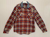 "Diesel Shirt Size XL Red Check Shirt Long Sleeve Contrast Denim Collar PTP 23"""