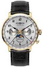 Zeppelin Hindenburg Maanfase Geel Gouden Kast 7038-1 Horloge