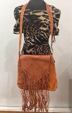 Large Handmade Designer Vintage Hippie Orange Genuine Leather Crossbody Handbag