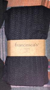 Francesca's Black herringbone tights - womens M/L - NEW Footed Dress Hosiery