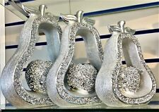 SET OF 3 SILVER PEARS SPARKLE BLING ORNAMENT CRUSHED DIAMOND, HOME DECOR