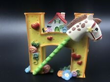 Mary Engelbreit Rocking Horse letter H Me 1999 Flowers House Hearts Figurine 2