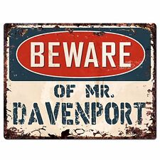 PP4012 Beware of MR. DAVENPORT Plate Chic Sign Home Store Wall Decor Funny Gift