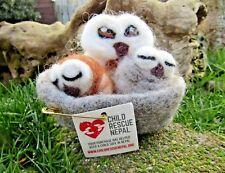 More details for fair trade hand made needle sewn felt owl family nest children's statue ornament