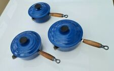 Le Creuset Saucepans set Marseille Blue 16 18 20 with lids. Genuine.