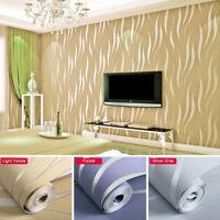3D Embossed Flocking Waves Textured Non-woven 10M Living Room Bedroom Wallpaper