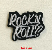 Rock n Roll Art Badge Black Iron on Sew on Embroidered Patch