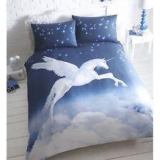unicornio Funda de almohada y Funda De Edredón Individual Juego Cama Azul