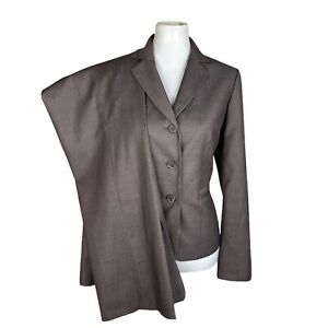 NINE WEST Women 2PC Brown Striped Polyester Rayon Gray Striped Pant Suit Size 8
