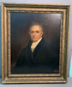 Ca.1830 LG Antique 19thC REGENCY Era GENTLEMAN Oil PORTRAIT PAINTING Old FRAME