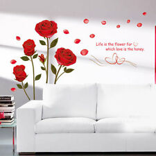 Red Rose Flower Removable Quote Wall Sticker Mural Decal Home Decor DIY Vinyl