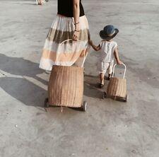 Handmade Vintage Rattan Wicker Shopping Basket Stroller for Kids on Wheels