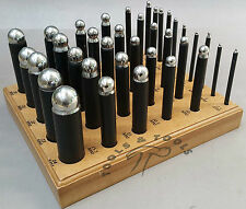 36 x QUALITY DAPPING STEEL PUNCH SET MAKING SHAPING JEWELLRY WITH  WOODEN STAND