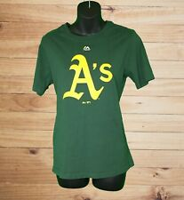 Oakland A's Youth SS Green T-Shirt w Yellow Graphic! Majestic Brand. Sz L 14/16