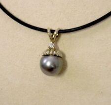 14K WG Tahitian Pearl & Diamond Pendant