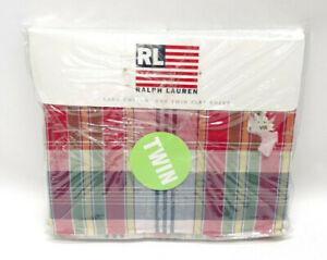 RALPH LAUREN HOME COLLECTION ~ SUNDECK RED PLAID TWIN FLAT SHEET ~ NIP