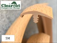 Campervan Conversion T Trim, Single Lipped, Beech, 5 Meters 15mm Furniture Trim