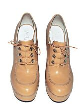 JIL SANDER Beige Patent Wooden Platform Shoes SIZE 40 High Chunky Heel Lace Up