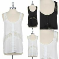 Partial Lace Trim Button Down Shirt Sleeveless Top Scoop Neck Slight Racerback
