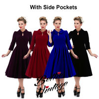 Hearts & Roses 50s Glamorous Velvet Swing Vintage Retro Party Plus Size Dress UK