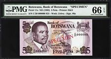 BOTSWANA 5 PULA 1992 **SPECIMEN** PMG 66 GEM UNC EPQ P 11s C/20 000000 SIGN 6a