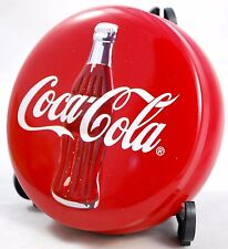 """Coca Cola 1997 EMBOSSED RED ROUND BUTTON Metal Coke Tin Box Container 5.5"""""""